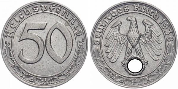 Drittes Reich 50 Reichspfennig 1938 D Kursmünze