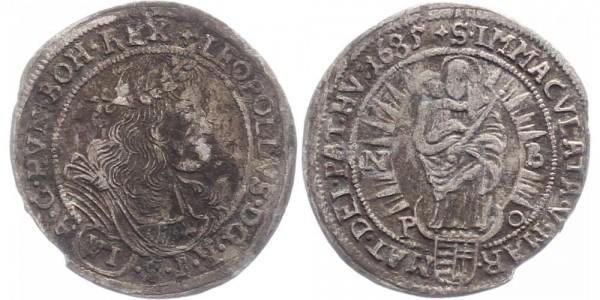 Haus Habsburg 6 Kreuzer 1685 Nagybanya (NB-PO) Leopold I.