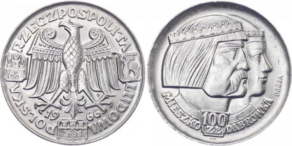 Polen 100 Zlotych 1966 - Mieszko und Dabrowka