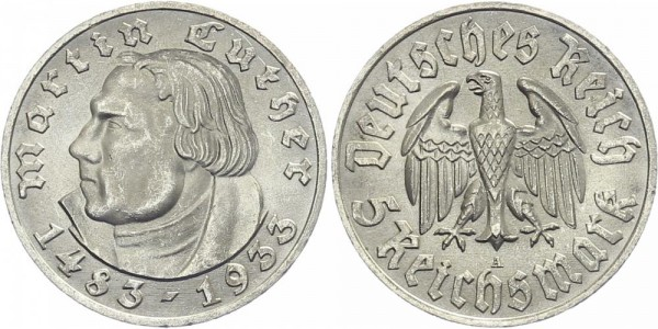 Drittes Reich 5 Mark 1933 A Martin Luther