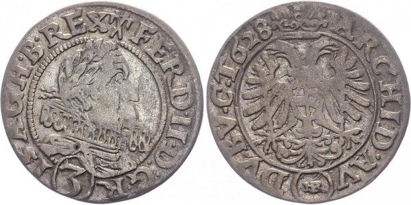 RDR, Habsburg 3 Kreuzer 1628 HR (Breslau) Ferdinand II. 1619-1637