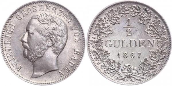 Baden 1/2 Gulden 1867 - Friedrich