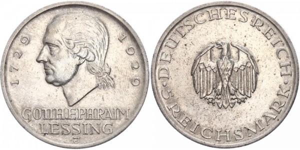 Weimarer Republik 5 Reichsmark 1929 J Lessing