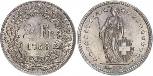 Schweiz 2 Franken 1958 B Kursmünze