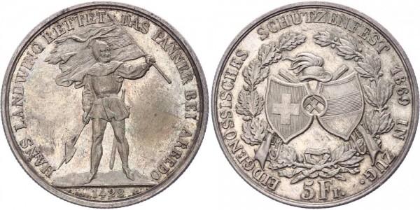 Schweiz 5 Franken/Schützentaler 1869 - Schützenfest in Zug