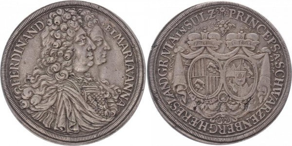 Schwarzenberg Taler 1696 Wien Hochzeit F. W. Eisebius mit Maria Anna v. Sulz