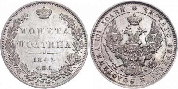 Russland 1/2 Rubel (Poltina) 1845 - Nikolaus I., 1825-1855