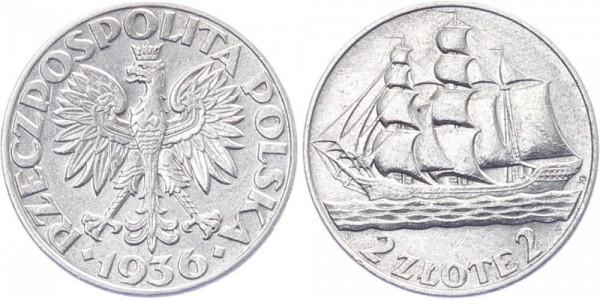 Polen 2 Zlotych 1936 - Segelschiff