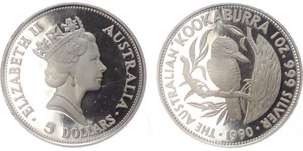 Australien 5 Dollar 1990 Kookaburra PP