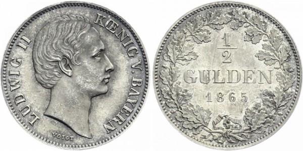 BAYERN ½ Gulden 1865 - Ludwig II. mit Scheitel