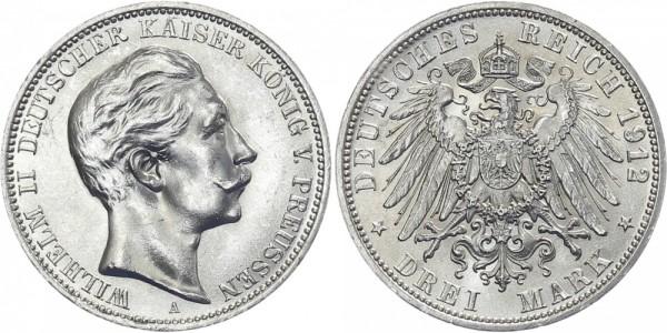 PREUSSEN 3 Mark 1912 A Wilhelm II.