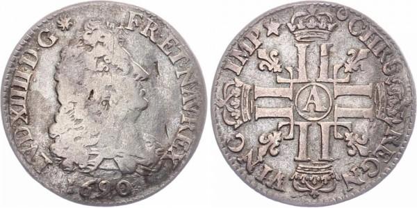 Frankreich 1/4 Ecu 1690 A Ludwig XIV., 1643-1715