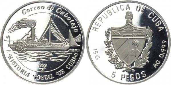 """KUBA 5 Pesos 1993 - Segelschiff """"Correo de Cabotaje"""""""