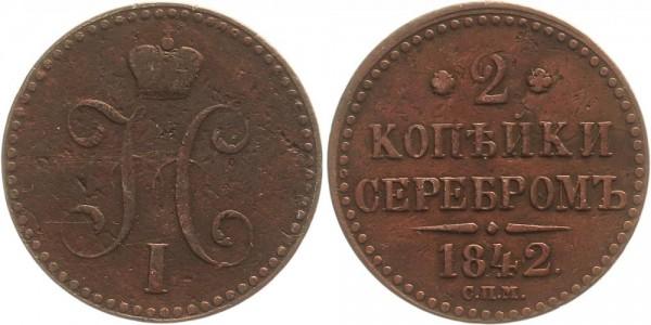Rußland 2 Kopeken 1842 SPM Kursmünze