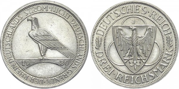 Weimarer Republik 3 Mark 1930 J Rheinlandräumung