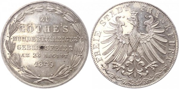Frankfurt Doppelgulden 1849 - Goethes Geburtstagsfeier