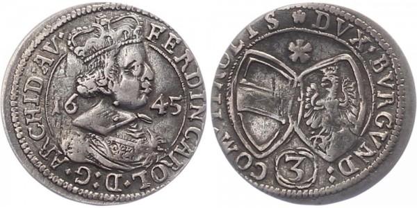 Haus Habsburg 3 Kreuzer 1645 - Erzherzog Ferdinand Karl