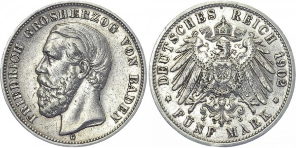 BADEN 5 Mark 1902 G Friedrich I.