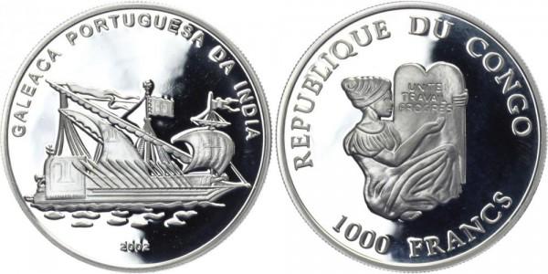 KONGO 1000 Francs 2002 - Galeaca Portuguesa da India