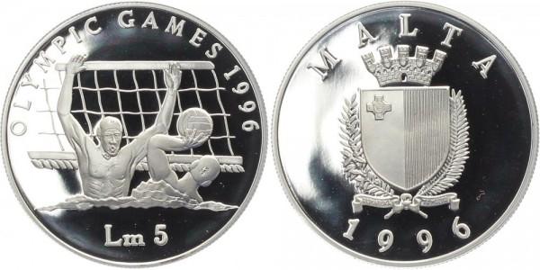Malta 5 Lira 1996 - Olympische Spiele, Wasserball