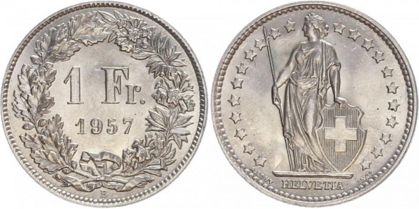 Schweiz 1 Franken 1957 B Kursmünze