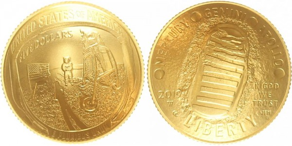 USA 5 Dollars 2019 50 Jahre Mondlandung Apollo 11