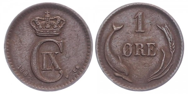 Dänemark 1 Öre 1887 - Kursmünze