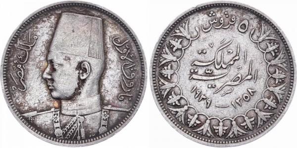 Ägypten 5 Piastre 1939