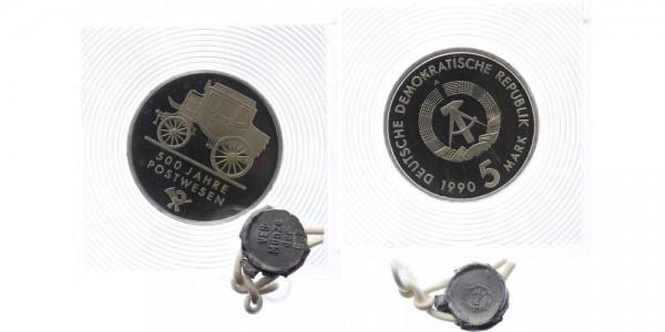 DDR 5 Mark 1990 - 500 Jahre Postwesen