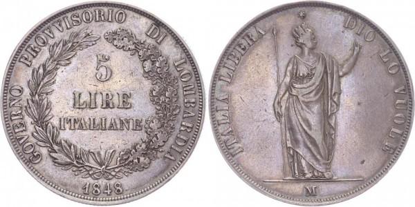 Italien 5 Lire 1848 M (Mailand) Provisorische Regierung