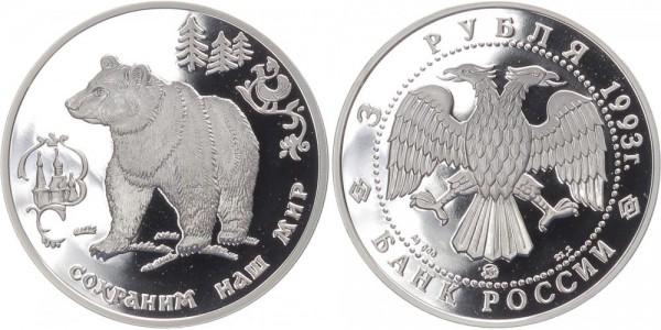 Russland 3 Rubel 1993 - Braunbär