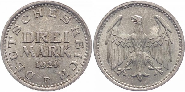 Weimarer Republik 3 Mark 1924 F