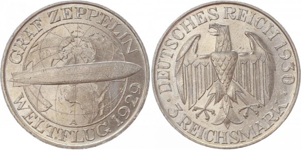 Weimarer Republik 3 Reichsmark 1930 A Zeppelin