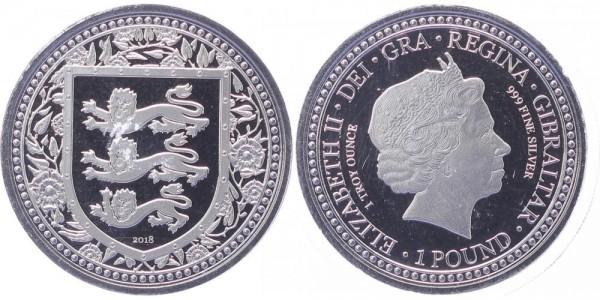 Gibraltar 1 Pound 2018 - Drei Löwen