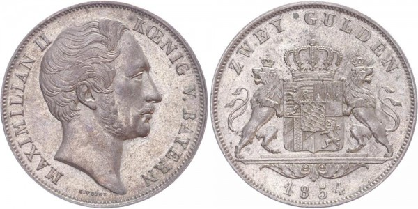 Bayern Doppelgulden 1854 - Maximilian II.