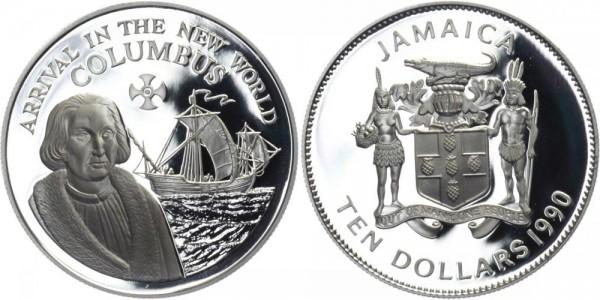 JAMAICA 10 Dollars 1990 - Kolumbus' Ankunft