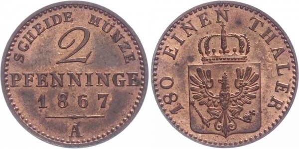 Preussen 2 Pfennig 1867 A Kursmünze