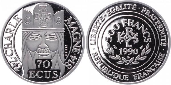 Frankreich 70 Ecus 1990 - Karl der Große
