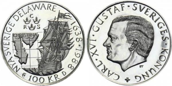 SCHWEDEN 100 Kronen 1988 - Nya Sverige Delaware