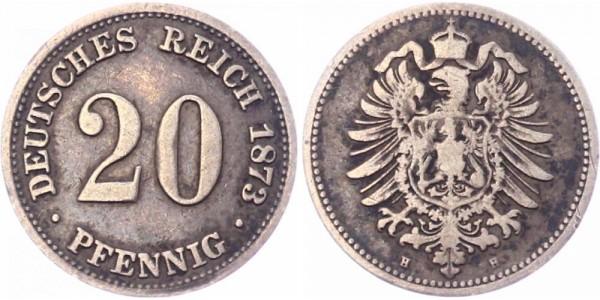 Deutsches Reich 20 Pfennig 1873 H Wilhelm I. großer Adler
