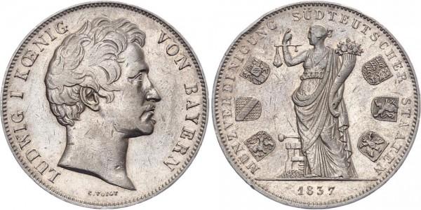 Bayern Geschichtsdoppeltaler 1837 - Münzvereinigung Süddeutscher Staaten