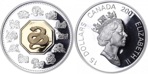 Kanada 15 Dollars 2001 - Jahr der Schlange