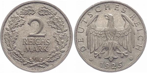 Weimarer Republik 2 Reichsmark 1925 G
