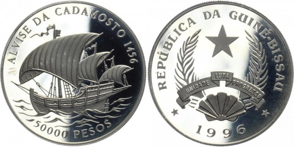 "GUINEA-BISSAU 50000 1996 - Segelschiff ""Cadamosto"""