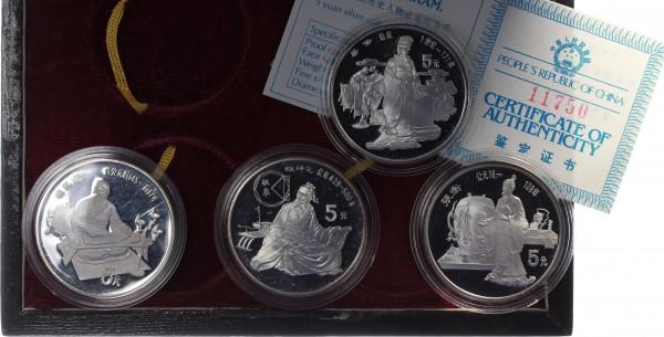 China 4x 5 Yuan 1986 - Historische Persönlichkeiten