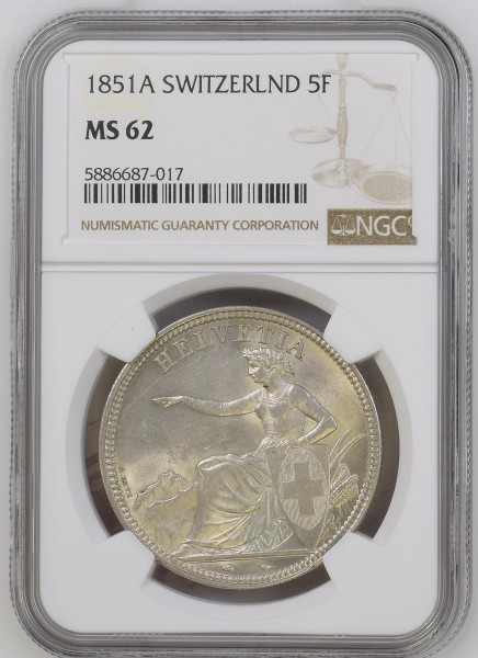 Schweiz 5 Franken 1851 A (Paris) Eidgenossenschaft