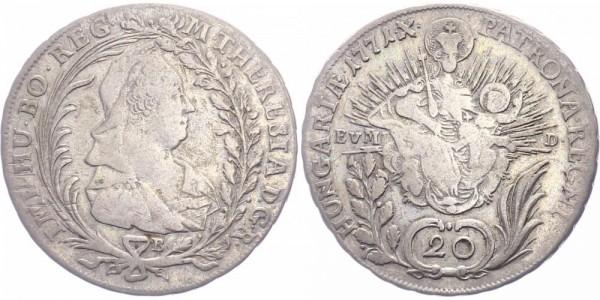 RDR/Österreich-Ungarn 20 Kreuzer 1771B Kremnitz Maria Theresia ( 1740 - 1780 )