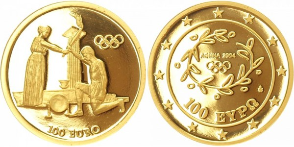 Griechenland 100 Euro 2004 Olympia Fackellauf - Rückkehrzeremonie
