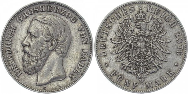 BADEN 5 Mark 1876 G Friedrich I.