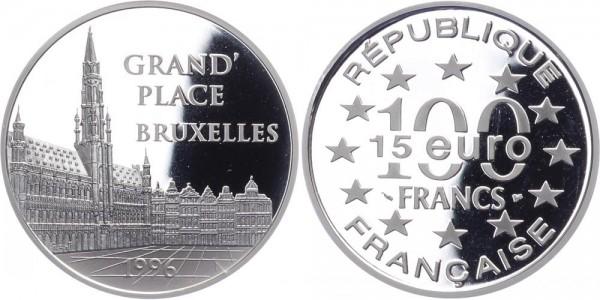 Frankreich 100 Francs/15 Euro 1996 - Grande Place Brüssel
